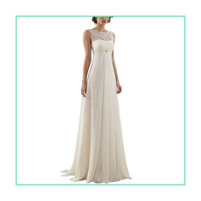 Abaowedding Women's Sleeveless Lace Up Long Bridal Gown Wedding Dresses US 4 White並行輸入品