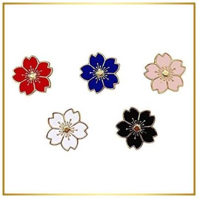 JIYAOANDX さくら ブローチ 人気桜の 5本セット レディースラペルピン桜の花バッジ タックピン ネクタイピン いい