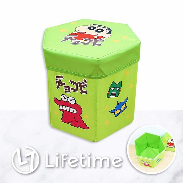 ﹝蠟筆小新方型收納箱椅﹞正版 箱椅 收納箱 椅子 摺疊椅 玩具箱 鱷魚餅乾〖LifeTime一生流行館〗