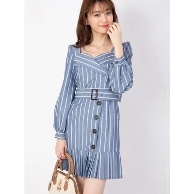 セシルマクビー CECIL McBEE ベルト付き裾プリーツワンピース (ブルー)