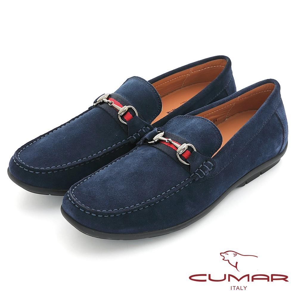 【CUMAR】時尚樂活 經典造型真皮帆船鞋 - 藍色