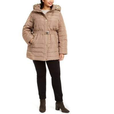 マイケル コース Michael Kors レディース ダウン・中綿ジャケット 大きいサイズ フード Plus Size Hooded Belted Puffer Coat With Faux-Fur Trim Truffle