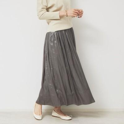 ルージュヴィフ ラクレ Rouge vif la cle レザーライクサテンギャザースカート (カーキ)