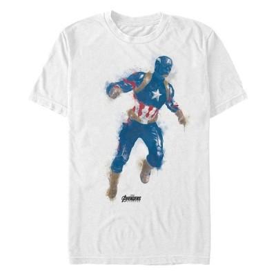 マーベル Tシャツ トップス メンズ Men's Avengers Endgame Watercolor Painted Captain America Short Sleeve T-Shirt White