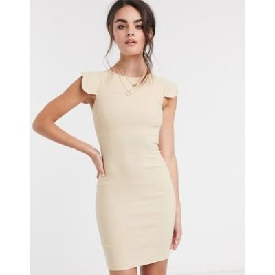 ベスパー レディース ワンピース トップス Vesper Poppy scalloped sleeve mini dress taupe