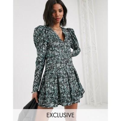 リクレイム ヴィンテージ レディース ワンピース トップス Reclaimed Vintage inspired dress with puff sleeve in abstract check print