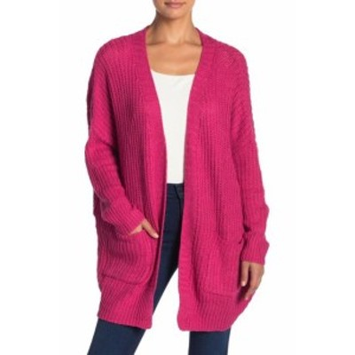 One  ファッション トップス Woven Heart NEW Pink Womens One Size Knitted OpenCardigan Sweater
