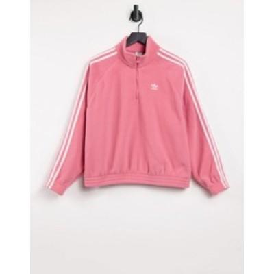 アディダス レディース シャツ トップス adidas Originals adicolor three stripe quarter zip fleece sweatshirt in hazy rose Pink