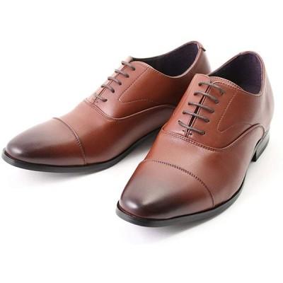 [CLOUD 9 クラウド・ナイン] シークレットシューズ しわになりにくい ストレートチップ ビジネス メンズ 背が高くなる靴 7cm UP ダーク