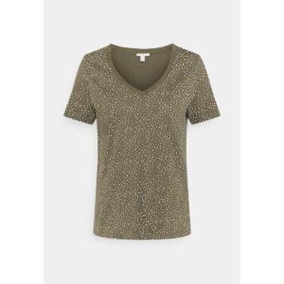 イー ディ シー バイ エスプリ レディース Tシャツ トップス V NECK TEE - Print T-shirt - khaki khaki