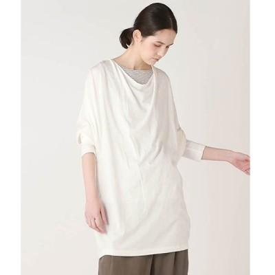 tシャツ Tシャツ 【WEBサイズ別注】スーピマ天竺ドレープカットソー