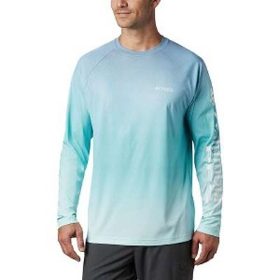 コロンビア メンズ シャツ トップス Columbia Men's Terminal Deflector Printed LS Shirt Bright Aqua Gradient