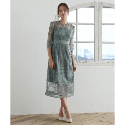 ドレス 花柄幾何学模様レース ミモレ丈ワンピースドレス