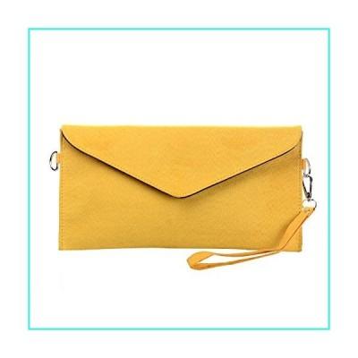 【新品】Tedim Soft Faux Suede Yellow Envelope Clutch Handbag(並行輸入品)