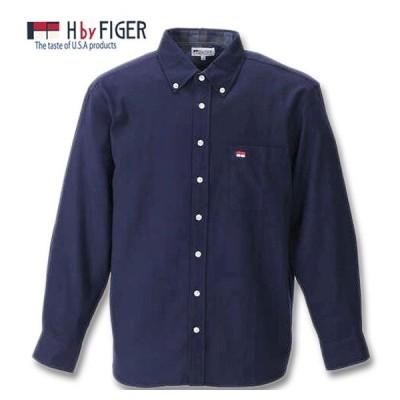 大きいサイズ メンズ H by FIGER 長袖B.Dネルシャツ 3L 4L 5L 6L 8L