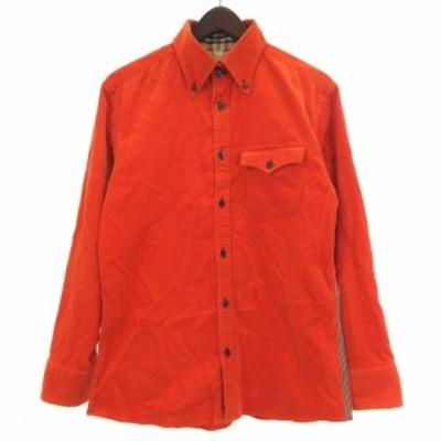 【中古】バーバリーブラックレーベル シャツ 長袖 コーデュロイ 細畝 BD オレンジ 2 トップス ECR6 メンズ