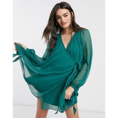 エイソス レディース ワンピース トップス ASOS DESIGN pleated wrap mini dress with long sleeves in forest green Forest green