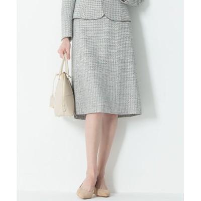 L size ONWARD(大きいサイズ)/エルサイズオンワード 【セットアップ対応】ライトシャインツイード スカート ブラック系1 44