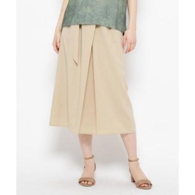 スカート 【手洗い可】ラップ風ベルテッドスカート