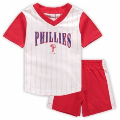 Outerstuff アウタースタッフ スポーツ用品  Philadelphia Phillies Infant White/Red Little Hitter V-Neck T-Shirt & Sh