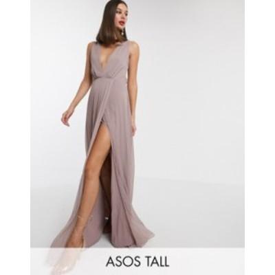 エイソス レディース ワンピース トップス ASOS DESIGN Tall pleated knot back maxi dress Mink
