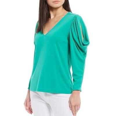カールラガーフェルド レディース シャツ トップス Butterfly Sleeve V-Neck Matte Jersey Top Emerald