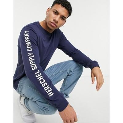 ハーシャル メンズ シャツ トップス Herschel Supply Co arm print long sleeve t-shirt