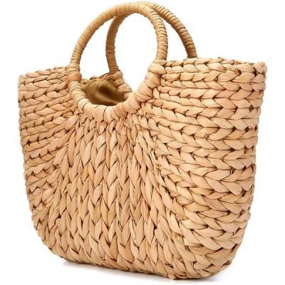 かごバッグ ストローバッグ 草編みバッグ 手編み 手提げ 麦わら 夏バッグ おしゃれ 軽量 半円形 プレゼント