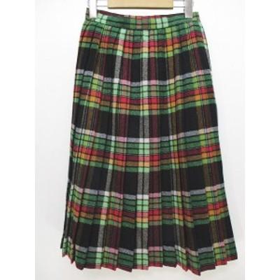【中古】コレット KORET 膝丈 ツイード プリーツ スカート 7 緑 グリーン 毛 ウール レディース