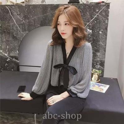 胸元リボントップスブラウス長袖きれいめ上品人気落ち着きwear.com