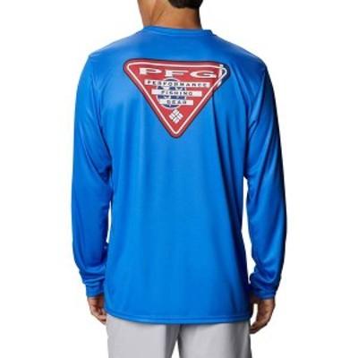 コロンビア メンズ シャツ トップス Columbia Men's PFG Terminal Tackle Tri-Fish Long Sleeve Shirt Vivid Blue/TN Flag