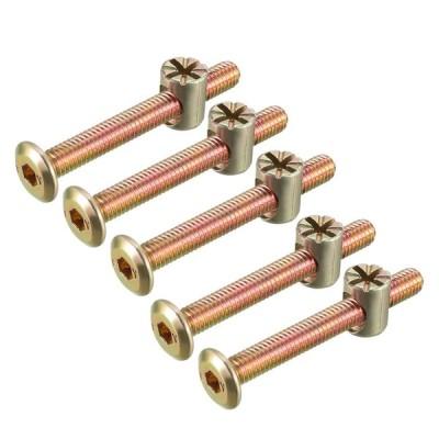 uxcell 家具ボルトナット M6x50mm 六角穴付ボルト バレルナッツ プラスマイナス 亜鉛めっき 5セット入り