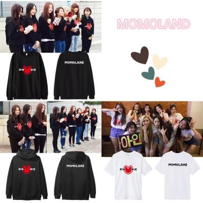 大人気!MOMOLANDコンサート 同じデザイン 半袖Tシャツ 韓国ファッション フードスウェット 男女兼用  トップス 韓国 パーカー