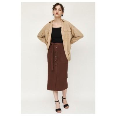 スカート FRONT BUTTON HW M/SK ハイウエストミディスカート