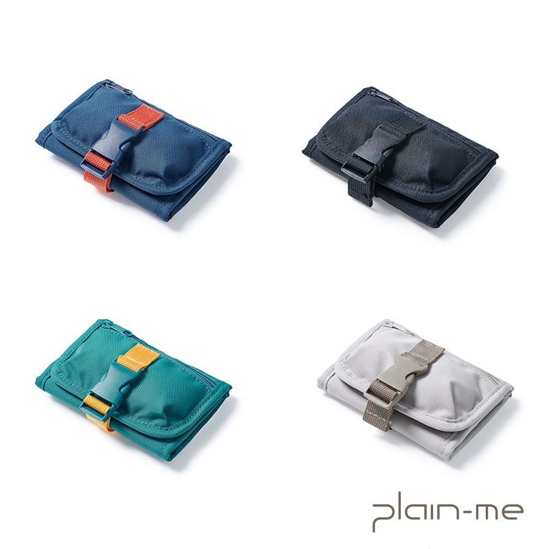 【plain-me】PM三摺一身零錢包(黑/卡其/藍/藍綠) COP3033