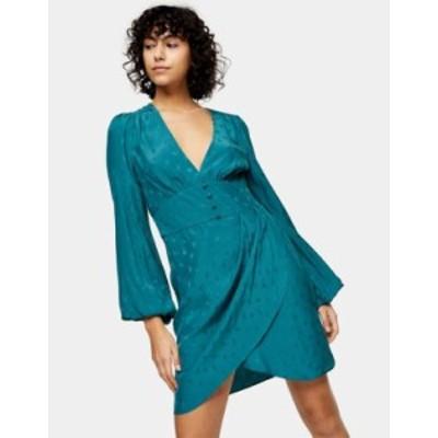 トップショップ レディース ワンピース トップス Topshop jacquard plunge button mini dress in green Green