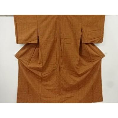リサイクル 縞模様織り出し手織り真綿紬単衣着物