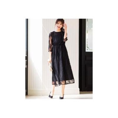 ニアナ niana 総レースロングレーススカート 結婚式ワンピース パーティードレス 成人式 同窓会 二次会 ドレス (ブラック)