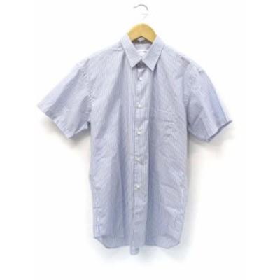 【中古】コムデギャルソンシャツ COMME des GARCONS SHIRT ストライプ 半袖 コットン シャツ ブルー S メンズ