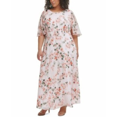 カルバンクライン レディース ワンピース トップス Plus Size Floral-Print Empire-Waist Flutter-Sleeve Dress Blush Multi