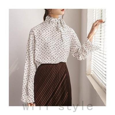 レディースボリュームスリーブフレアスリーブブラウス襟元リボンシャツ長袖トップスフリーサイズワンサイズ