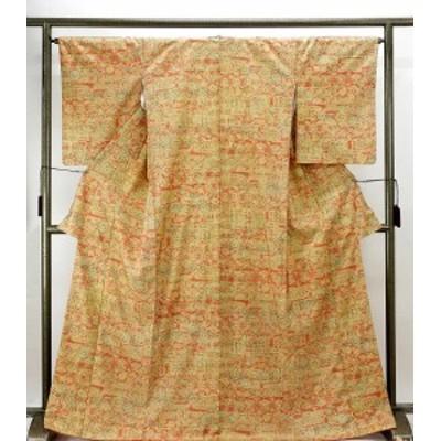 紬 正絹 草花幾何模様 身丈167cm 裄丈65.5cm 紬 美品 リサイクル 着物