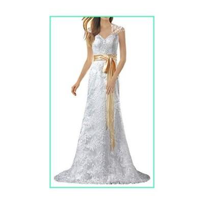 ANTS Women's Cap Sleeve Mermaid Lace Wedding Dresses Keyhole Gown Size 4 US Ivory並行輸入品