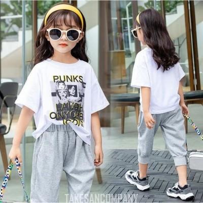 女の子 セットアップ Tシャツ キッズ半袖 パンツ 2点セット  可愛い 子ども 夏 お出かけ 普段着 遠足 通学 スウィート