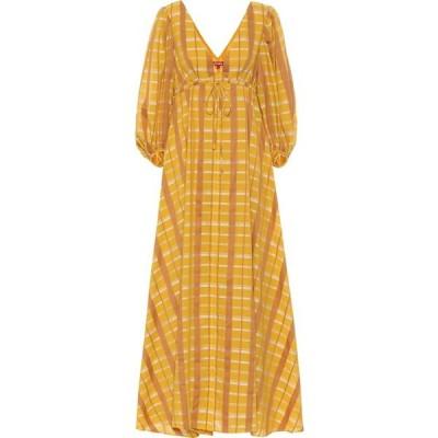 スタウド Staud レディース ワンピース マキシ丈 ワンピース・ドレス amaretti cotton-blend maxi dress Mustard Plaid