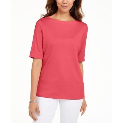 ケレンスコット カットソー トップス レディース Petite Cotton Elbow-Sleeve T-Shirt, Created for Macy's Peony Coral