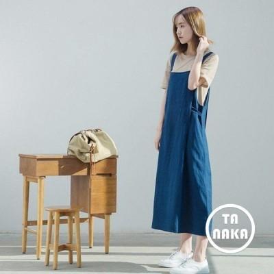 オールインワン  レディース SI 2色 綿麻 吊りスカート 文芸 ワンピ マキシ丈  大きいサイズ    体型カバー 着痩せ  春
