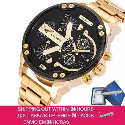 ファッションメンズ腕時計cagarnyデュアルディスプレイ軍事ゴールド鋼クォーツ時計男性時計