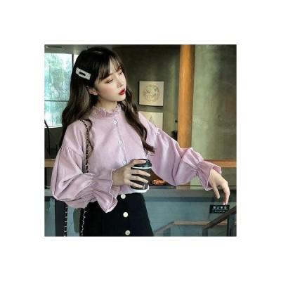 ディアハート DearHeart フリル襟付薄手コーデュロイシャツ (ピンク)