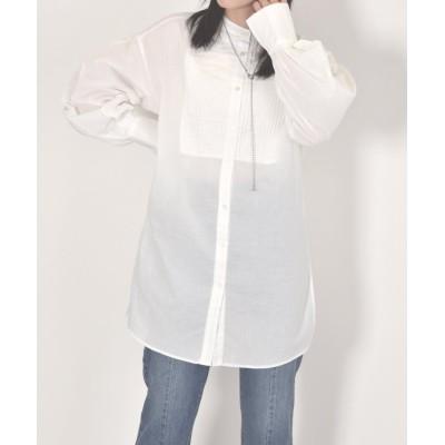 【ダブルクローゼット】 前切替プリーツピンタックシャツ レディース オフホワイト FREE w closet